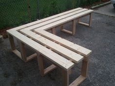 """Favorite Like this item? Add it to your favorites to revisit it later. Patio & Porch """"L"""" Shaped Wood Bench"""