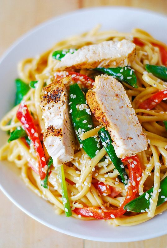 Asian chicken salad with noodles and peanut sauce - serve cold or at ...