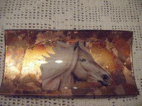 bandeja caballo y oro viejo materiales bandeja cristal motivo de una lamina mixtion cola decoupage pan de oro envejecido barniz o goma laca ...