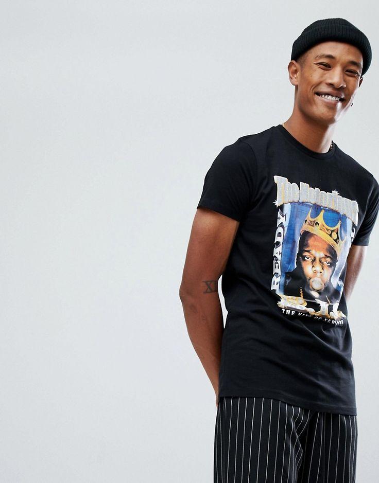 ASOS Notorious BIG Longline T-Shirt With Glitter Print - Black