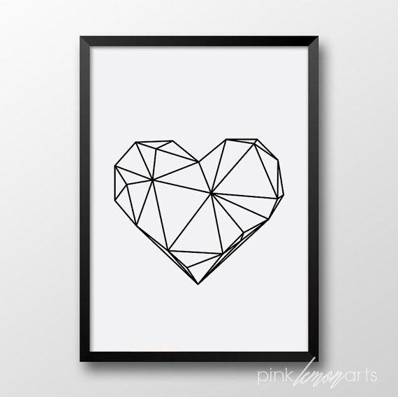 Geometrische Herz Print skandinavische Kunst von PinkLemonArts