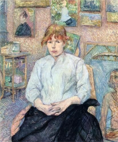 Henri de Toulouse-Lautrec - The Redhead with a White Blouse, 1888, oil