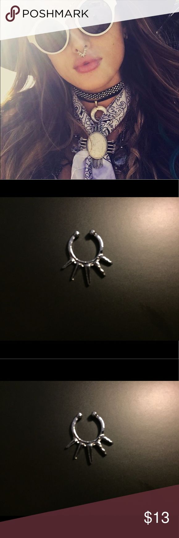 """Silver Fake Septum/ Bull Nose Ring- Spikey This new """"it girl"""" accessory piece is both sexy and cool. Great quality ring for the price. Brand new and fully adjustable. Will be stocking many styles so message if you want to bundle any! Free People Accessories"""
