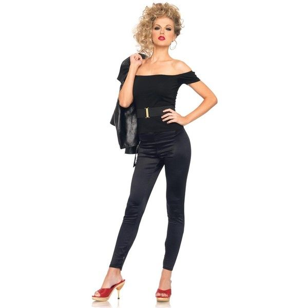 Grease Bad Sandy Outfit Adult Costume ($30) ❤ liked on Polyvore featuring costumes, halloween costumes, bad girl, pink lady costume, sexy halloween costumes, bad sandy costume and danny zuko costume