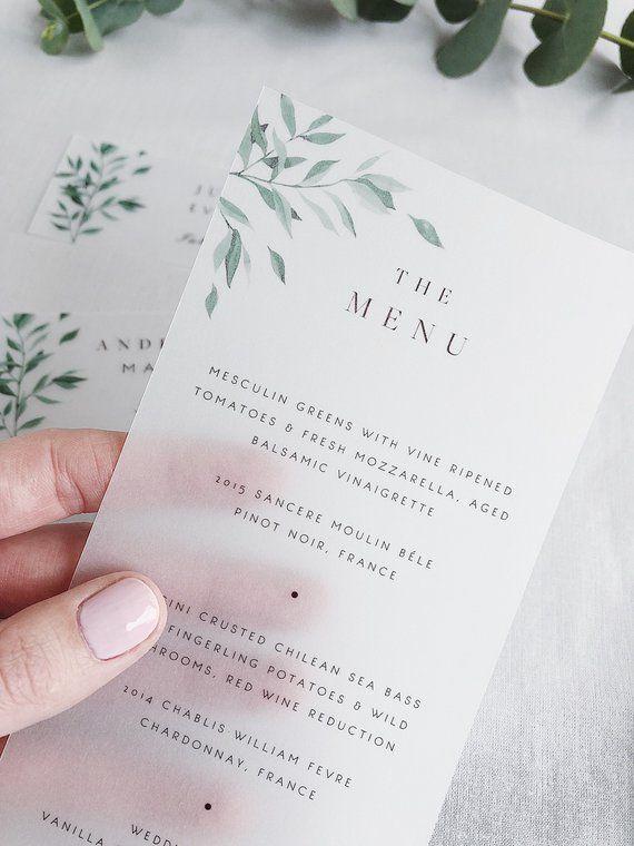 Green wedding menu wedding menu template botanical menu cards menu printable  – Blumen basteln