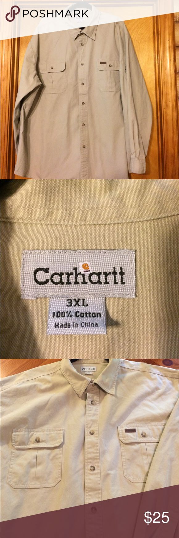 Cathartic Khaki Work Shirt Cathartt Khaki Shirt. 3XL. Worn 1 Time. Carhartt Shirts Casual Button Down Shirts