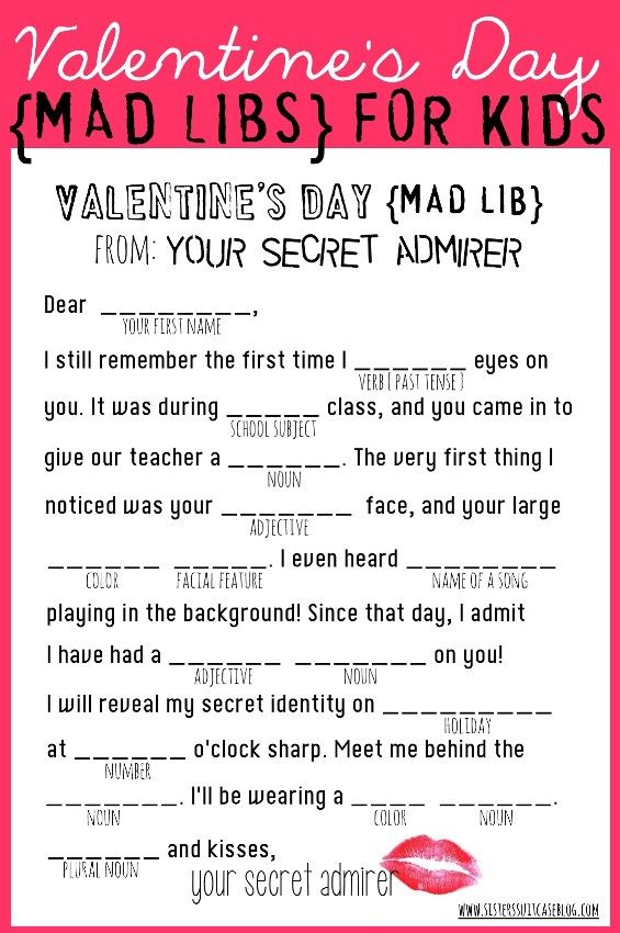 Valentine's Day Mad Libs {free printable} from www.sisterssuitcaseblog.com #valentines #printable: Libs Valentine, Valentine Printables, Www Sisterssuitcaseblog Com, Valentine Day, Mad Libs, Valentines Day, Free Printables, Libs Free, Valentine Mad