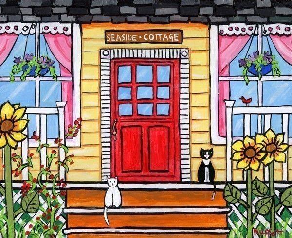 Yellow Seaside Cottage Cats Shelagh Duffett Print