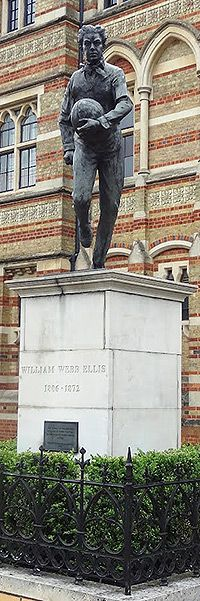 The birth of William Webb Ellis, on this day 24th November, 1805. Anglican clergyman and the alleged inventor of the game of Rugby while a pupil at Rugby School where this statue is