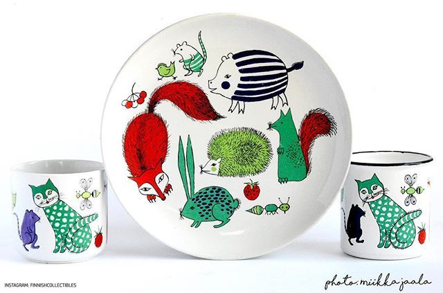 Arabia Finland Noah's Arc vintage set. Mug model RA, plate model AR and Finel…