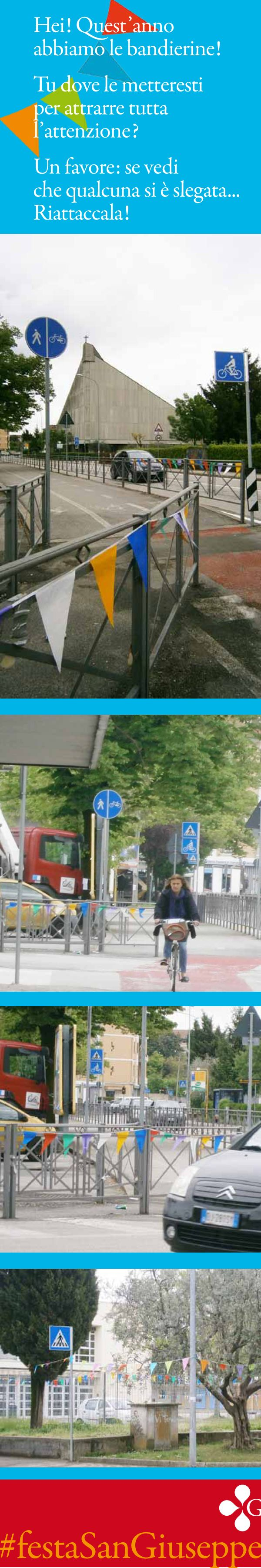 Hei! Quest'anno alla #festaSanGiuseppe di Vicenza, abbiamo le bandierine! Tu dove le metteresti per attrarre tutta l'attenzione? (^L^) Un favore: se vedi che qualcuna si è slegata...Riattaccala!