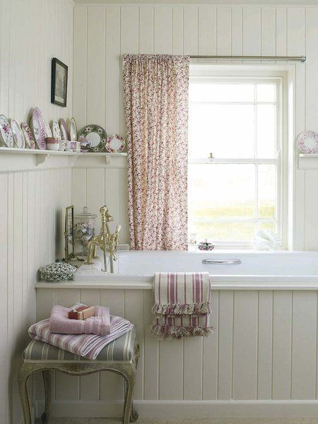 Chic Country Bathroom. I'm having plank put around my own cottage bath tub <3