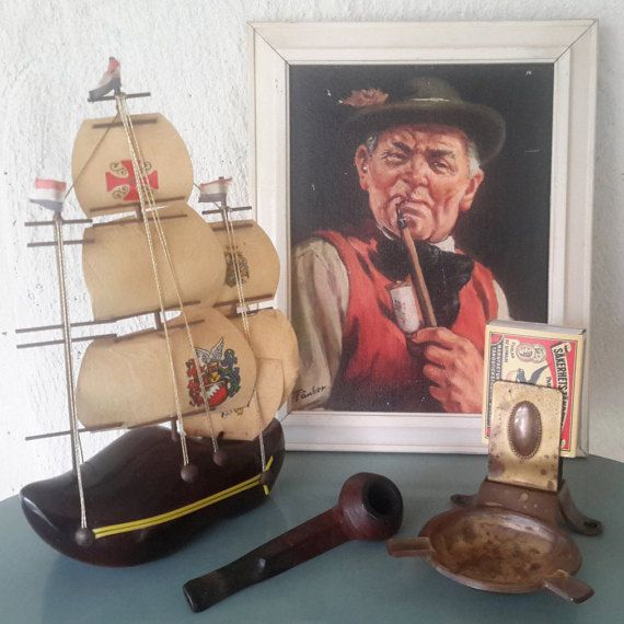 collectible pijproker set kitsch set koperen door FunkyPastPresents