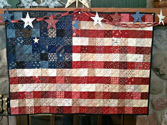 Quilted AMERICAN Flag MADE to order by AuntiJoJos on Etsy, $85.00