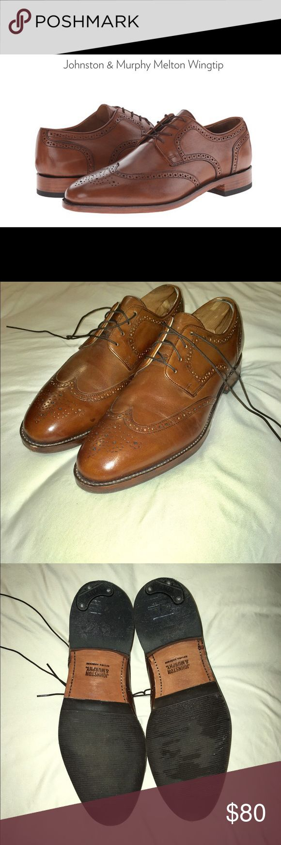 Johnston & Murphy Melton Wingtip Mint condition J&M Melton Wingtips. Rubber protection and plastic heel tap added. Worn only 5 times. Original price $175, selling for $80. Johnston & Murphy Shoes Oxfords & Derbys