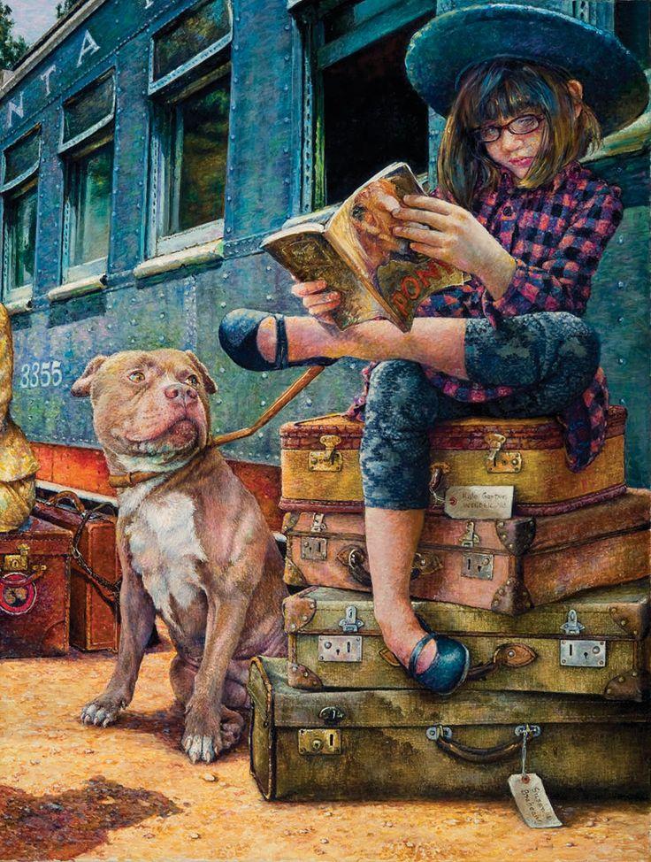 Gotti's Keep. Illustration bySusan Brabeau - Girl reads while monitoring dog and luggage