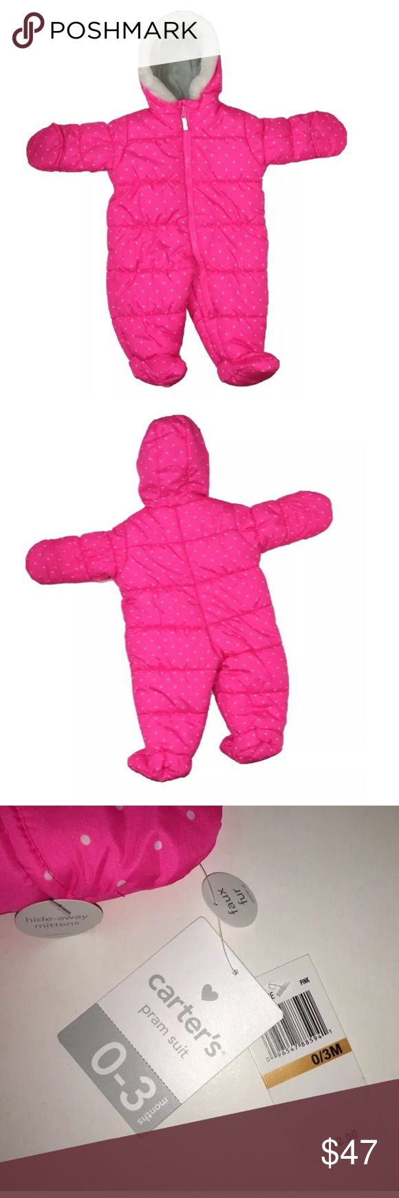 🆕 Carters Snowsuit Pink Pram Size 0-3 Month WILL ACCEPT ALL REASONABLE OFFERS  Shoulder to Bottom: 21  inches Armpit to end of Sleeve: 7 3/4 inches Armpit to Armpit: 12 1/2 inches  RN# 15101  Inventory # U5 Carter's One Pieces