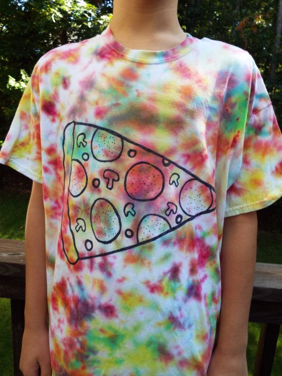 Tie-dye pizza t-shirt for the pizza lover from Anything on a Tie Dye at Creations by Maris https://www.etsy.com/listing/475688768/tie-dye-pizza-tshirt-xl-pizza-lover