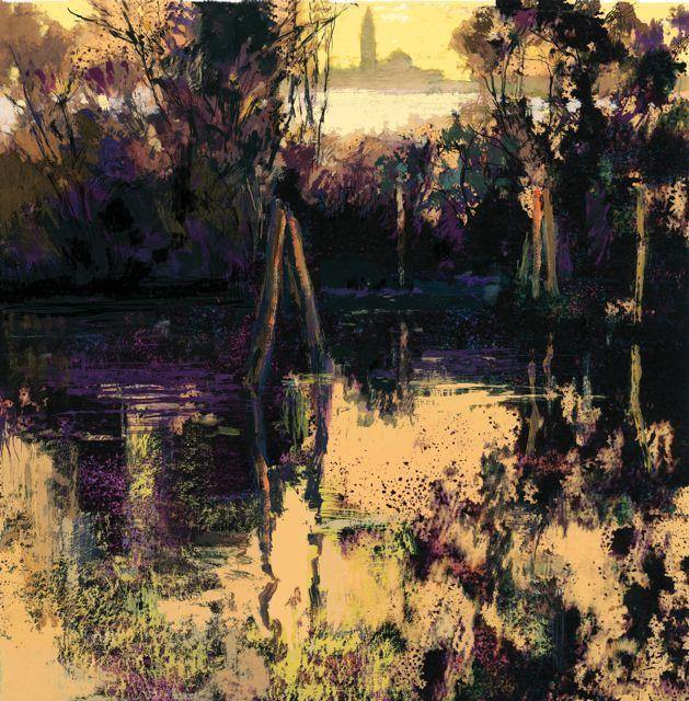 """""""Atardecer en la Laguna de Venecia""""50x50cm.M.Teresa Martin-Vivaldi"""