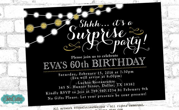 Surprise 60th Birthday Invites - Adult Surprise Birthday Invites - Black - Gold Glitter  Birthdays by TresCutiesDesigns on Etsy https://www.etsy.com/listing/215893278/surprise-60th-birthday-invites-adult