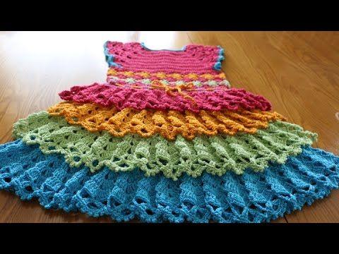 Crochet Baby Girls Rainbow Dress (Video) -