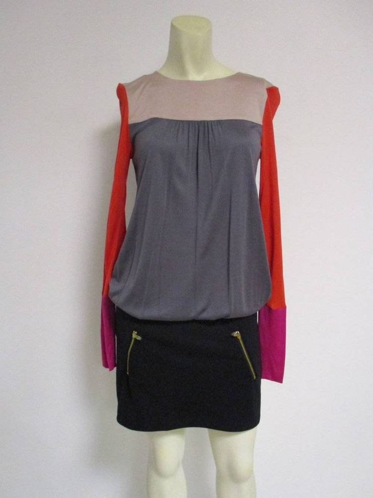Ted Baker Pandia Gray Black Red Color Block Dress TB 1 US 4 NWOT #TedBaker…