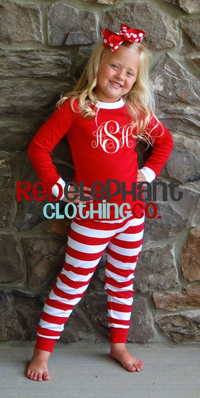 Christmas Pajamas Red Stripe, Monogrammed PJs, Embroidered Kids Pajamas PRE ORDER on Etsy, $35.00