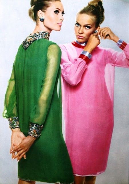 Chiffon cocktail dresses by Pierre Cardin, jewelry by Van Cleef & Arpels, via L'Officiel, September, 1965.