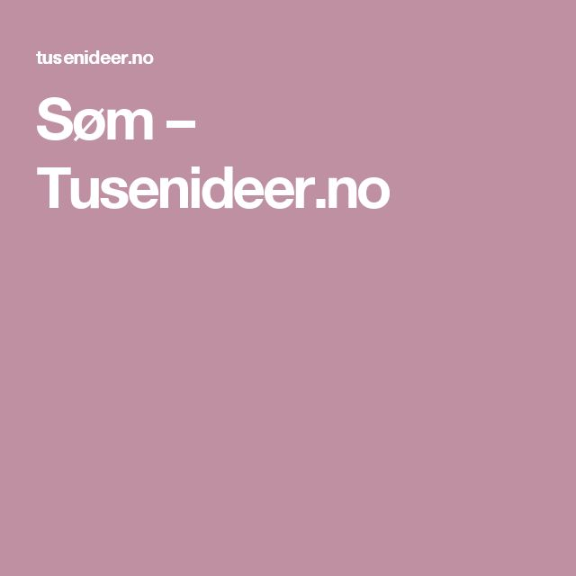 Søm – Tusenideer.no
