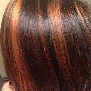 orange highlights on brown hair | Hair beauty, Brown hair ...