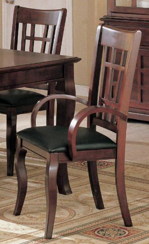 """Dimension: 22""""L x 21""""W x 40""""H Finish: Rich Cherry, Black Material: Birch Veneers, Leather Like Set of 2 Dining Arm Chairs Black Leather Like Rich Cherry Finish ..."""