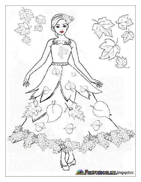 Planse cu ZANA TOAMNA - Imagini de colorat | Fise de lucru - gradinita: