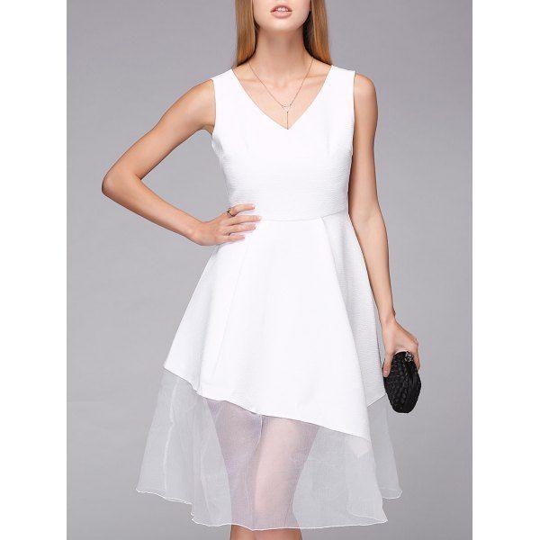 Elegant Women's White V-Neck Lace Splicing High Waist Dress #CLICK! #clothing, #shoes, #jewelry, #women, #men