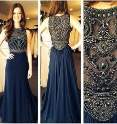 Online Shop robe de soiree 2014 New Sexy Sleeveless Scoop Neckline Dark Blue Chiffon Beaded Evening Dresses Long Prom Gowns BO5235|Aliexpress Mobile