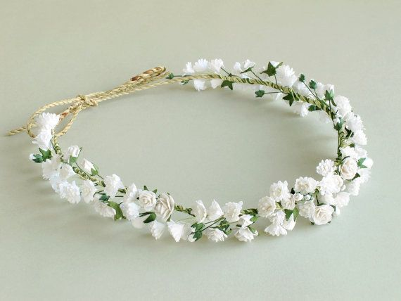 These can be customized to suit your need.  Paper gypsophila flower crown • Colour: white [152] • Made of mulberry paper flowers tied to a piece of string • Largest flower size: 10-15mm (3/8-5/8) approx • Length: Adjustable. We left the tail very long so it should fit everyone. You can cut the excess length with scissor.  Perfect for wedding -------------------------------------------------------------- See more accessories here: www.etsy.com/shop/SQUISHnCHIPS?section_id&#...
