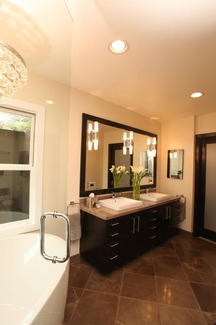 Contemporary condo bath modern bathroom chicago by jill jordan - A Contemporary Double Vanity Anchors One Wall In This Luxurious Bathroom Brown Marble Flooring
