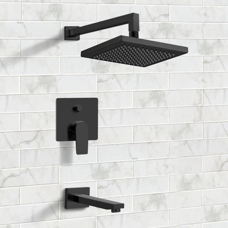 Matte Black Tub And Shower Faucet Sets With 8 Rain Shower Head