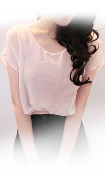 Short sleeve cute beaded T-shirt JA22828