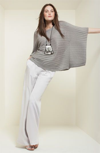 Lafayette 148 New York Poncho Sweater & Silk Pants, Nordstrom.