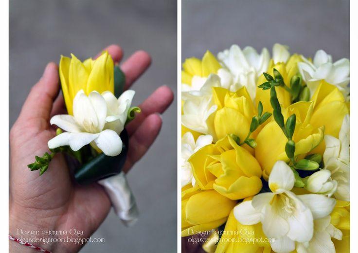 Baiciurina Olga's Design Room: Букет невесты из желтых тюльпанов и белых фрезий- Yellow tulips & white freesia wedding bouquet!