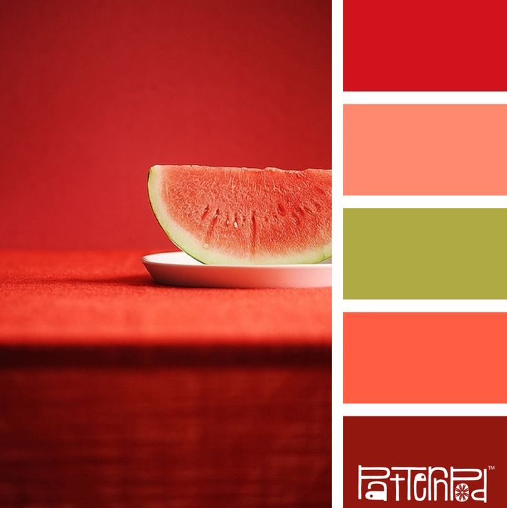 Watermelon-inspired color palette of pinks, reds, and green.  Strong colors for a website.