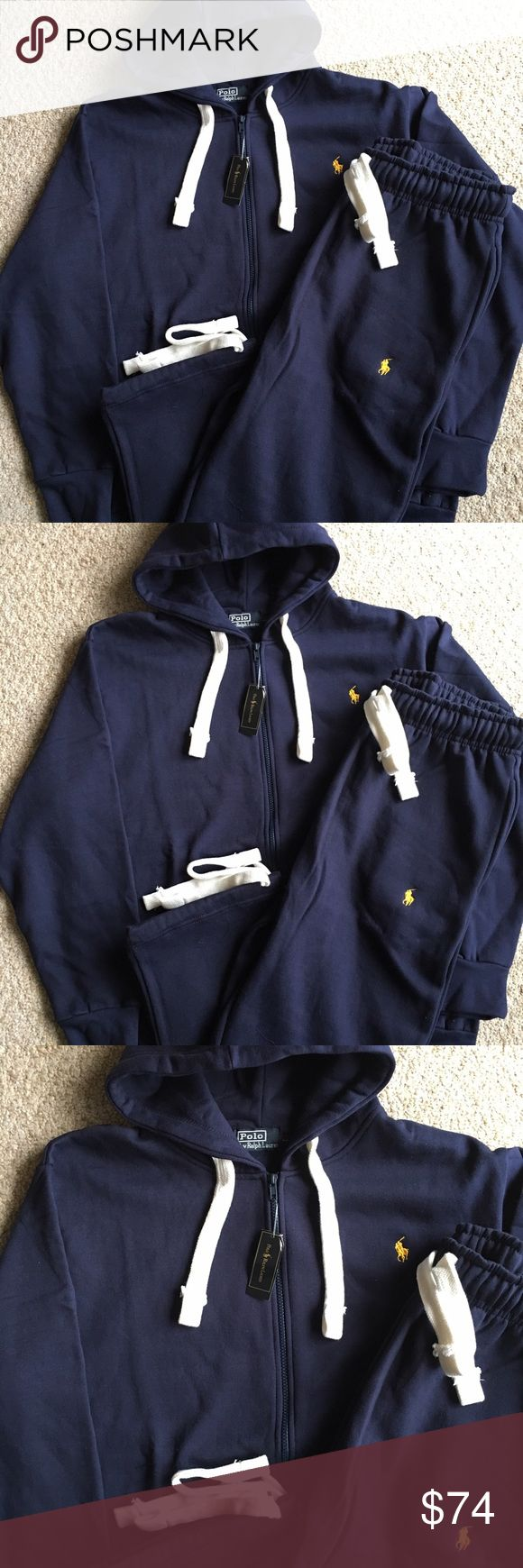 New Ralph Lauren Polo Hoodie Sweatpants Set Brand new with tags. Navy Blue with Yellow Polo stitch. Drawstring Sweatpants with zippered Hoodie. Great deal! Polo by Ralph Lauren Shirts Sweatshirts & Hoodies