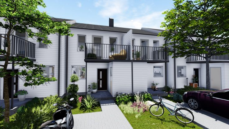 New built terraced housing in Norrkoping, Sweden.
