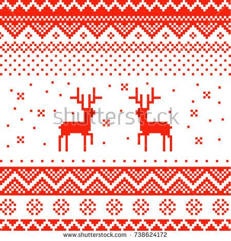 Bright, colorful, pixel Christmas background. Vector. New Year's card, invitation, package, flyer, poster, cover. reindeer. falling snowflakes in winter.