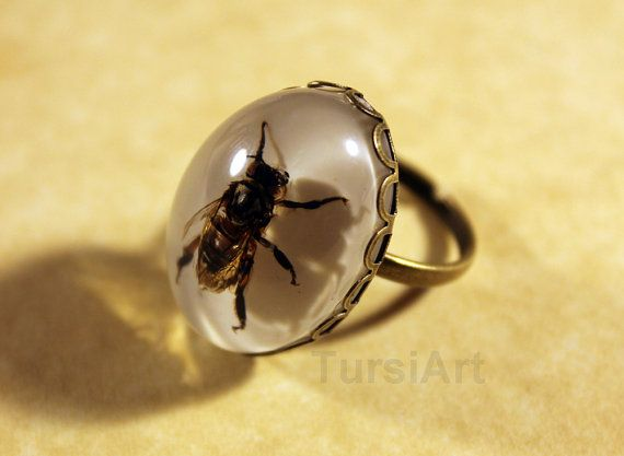 Bee Ring Real Honey Bee in Resin Brass Ring or Silver por TursiArt