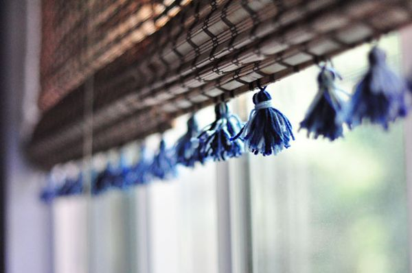 shades_curtains with tassels-bamboo shades DIY Tassels