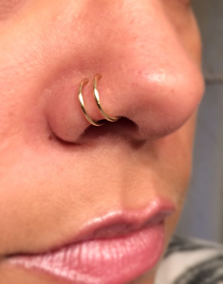 18 gauge Gold Double Nose Ring Lip Ring Fake Piercing Fake Hoops