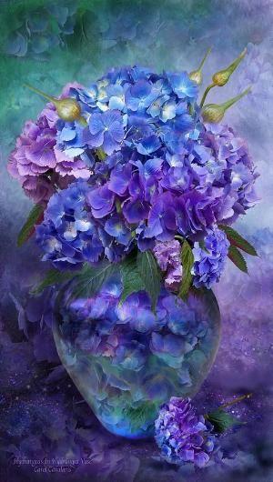 Hydrangeas In Hydrangea Vase Fine Art Print - Carol Cavalaris by rosella