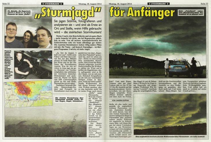 """18.08.2014 - """"Kronen Zeitung"""" Reportage: Sturmjagd für Anfänger - Stormhunters-Austria"""