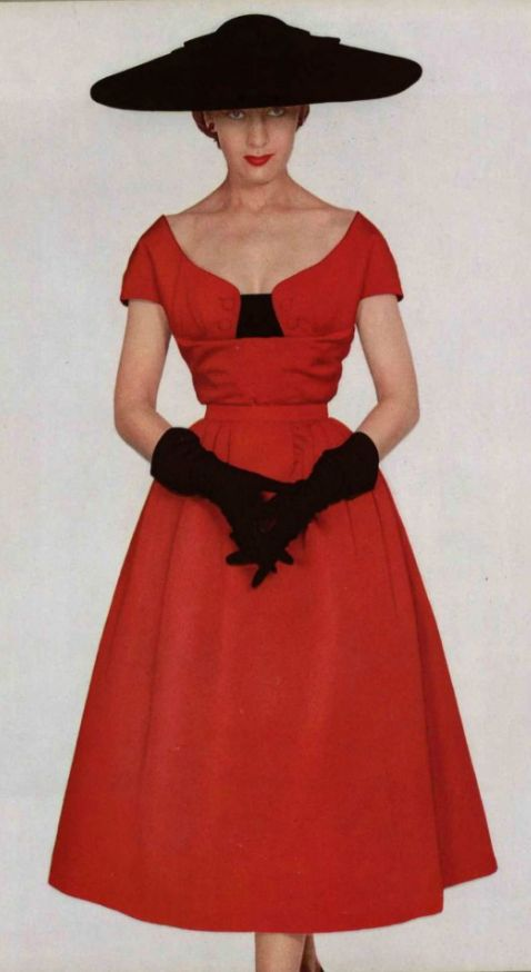1951 Christian Dior 50s red dress cocktail satin black velvet designer couture color photo print ad full skirt hat gloves bow portrait collar